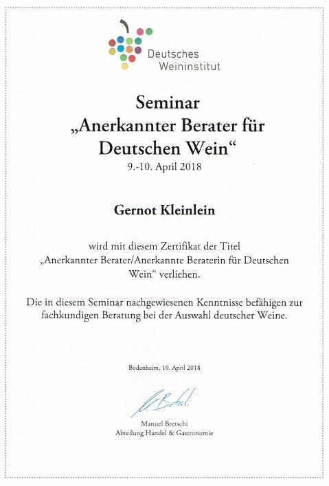 Anerkannter Berater für Deutschen Wein Saale-Unstrut